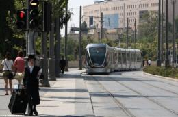 Jerusalem's light rail system on its first day of operation today
