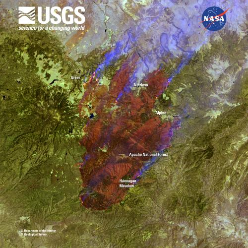 Landsat satellite sees Arizona wildfire sweep through apache national forest