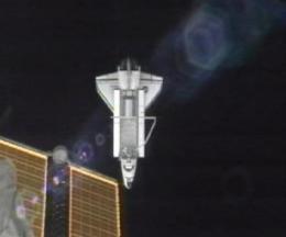 Last shuttle leaves space station, due back Thurs. (AP)