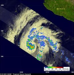 Late season Hurricane Kenneth forms in the eastern Pacific