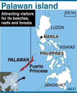 Map locating Palawan island in the Philippines