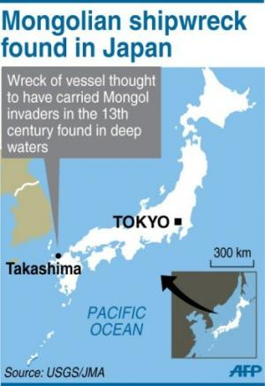 Map of Japan locating Takashima, where archeologists found a shipwreck believed to have carried Mongolian invaders