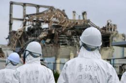 Members of a Japanese government panel inspect the damage at the Fukushima nuclear power plant