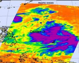 NASA identifies the areas of Tropical Storm Muifa's strength
