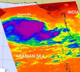 NASA imagery sees a reawakening of system 98A in the Arabian Sea