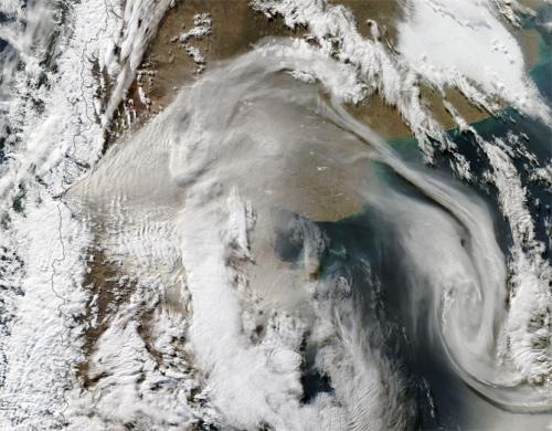 NASA provides a 2-satellite view and video of the Chilean volcano eruption