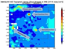 NASA's Aura Satellite measures pollution from New Mexico, Arizona fires