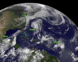 NASA sees 4 tropical cyclones in the Atlantic today