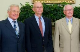 Neil Armstrong (R), and fellow Apollo 11 crewmembers Edwin