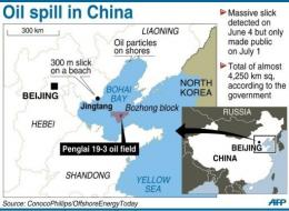 Oil from the leak has been spotted on beaches in northern Hebei province and northeastern Liaoning province