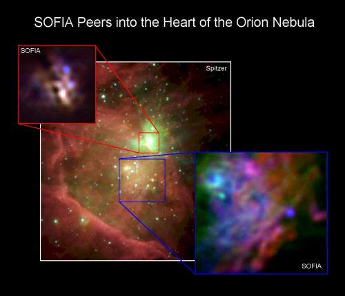 SOFIA peers in to the heart of the Orion nebula