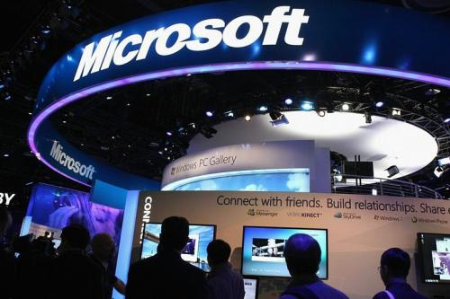 The Microsoft booth is seen during the 2011 International Consumer Electronics Show