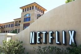 The Netflix logo is displayed outside of their headquarters in Los Gatos, California