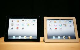 The second generation iPads displayed during Apple's special media event