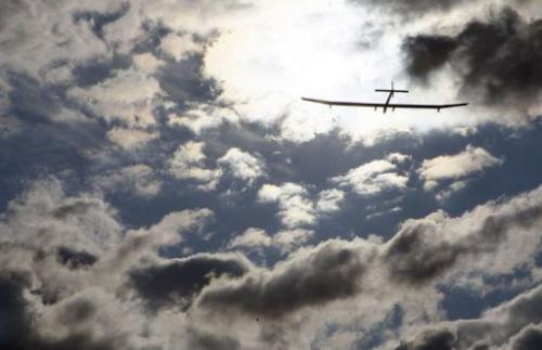 The solar powered airplane Solar Impulse takes off