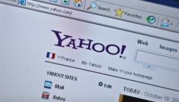 The Yahoo homepage is seen on a computer screen