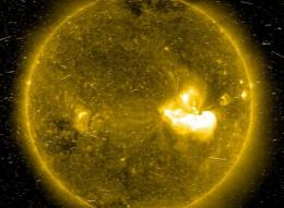 This 2006 Solar and Heliospheric Observatory Extreme ultraviolet Imaging Telescope image shows a flare on the Sun