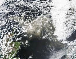 This NASA Earth Observatory image shows ash from Iceland's Grimsvoetn Volcano on May 24