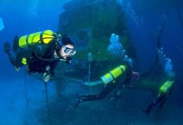 This undated file image obtained in 2003 shows divers entering the Aquarius underwater habitat