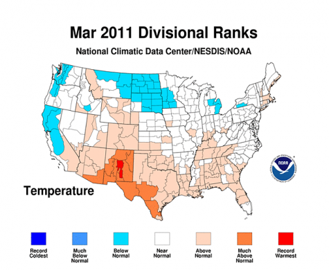 U.S. had above normal temperatures and precipitation in March