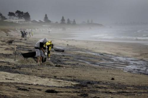 Volunteers help with the clean-up of oil from the grounded container ship 'Rena' off Papamoa beach