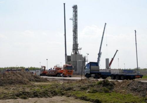 A drilling rig explores for shale gas in the eastern Polish village of Grzebowilk in 2011