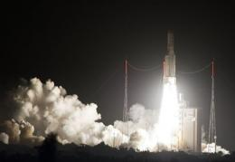 An Ariane-5 rocket blasts off in 2011 from the European space centre at Kourou, French Guiana