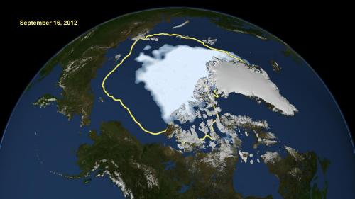 Arctic sea ice hits smallest extent in satellite era