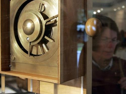 A reconstruction of Antikythera Mechanism is displayed at the exhibition of ancient Greek technology in Athens in 2005