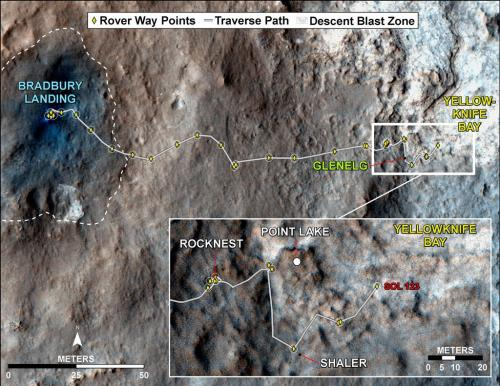 Curiosity inspects 'shaler' outcrop on descent to yellowknife bay drill target -- 2d/3d