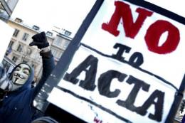 Demonstrators protest against the ACTA accord in Stockholm