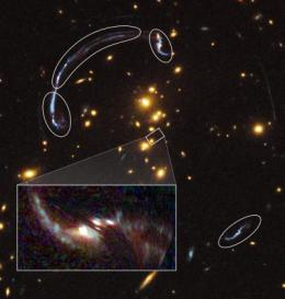 Gravitational lens reveals details of distant, ancient galaxy