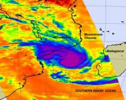 Major Tropical Cyclone Funso analyzed by two NASA satellites