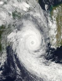 NASA satellites see cyclone Funso exiting Mozambique Channel
