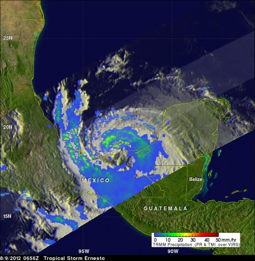 NASA sees very heavy rainfall within Tropical Storm Ernesto