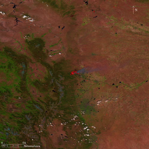 Satellite Sees Western U.S. High Mountain Blazes