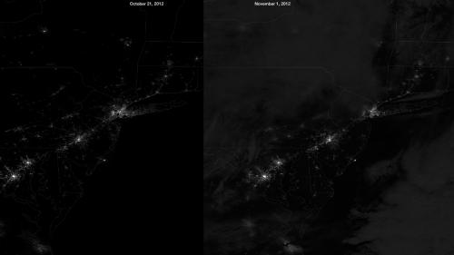 Suomi NPP satellite captures Hurricane Sandy's Mid-Atlantic blackout