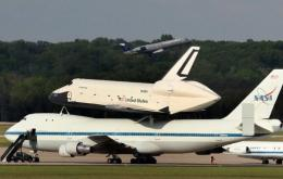 The space shuttle Enterprise sits atop a NASA 747 shuttle carrier aircraft