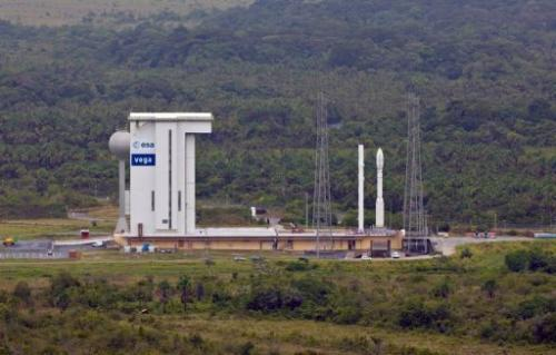 The Vega rocket in its launch pad at the Kourou Space Centre, French Guiana
