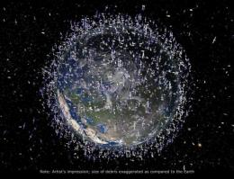 This artist's impression released in 2011 by the European Space Agency (ESA) shows the debris field in low-Earth orbit