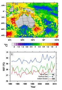 Triple whammy: Ocean warming, La Niña,  and cyclone produced Queensland floods