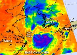 NASA sees Tropical Storm Khanun weakening for South Korea landfall