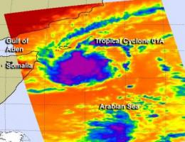 NASA's TRMM satellite sees birth of Arabian Sea cyclone