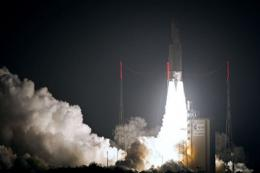 An Ariane-5 rocket blasts off on March 23 from the European space centre at Kourou, French Guiana