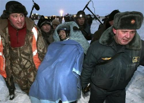 Astronauts touch down in chilly Kazakhstan steppe