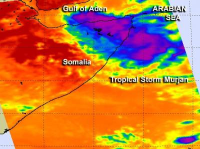 NASA saw Tropical Storm Murjan making landfall on the Horn of Africa