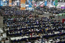 Participants work during an IT event in Sao Paulo