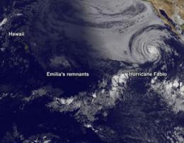 Satellite sees Hurricane Fabio still chasing Emilia's remnants in Pacific Ocean