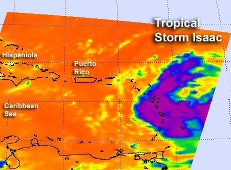 NASA sees Tropical Storm Isaac and Tropical Depression 10 racing in Atlantic