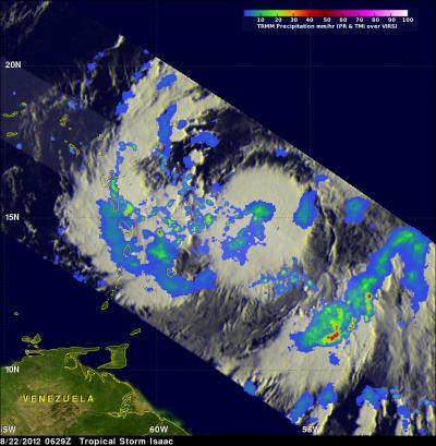NASA sees Tropical Storm Isaac bring heavy rains to Eastern Caribbean